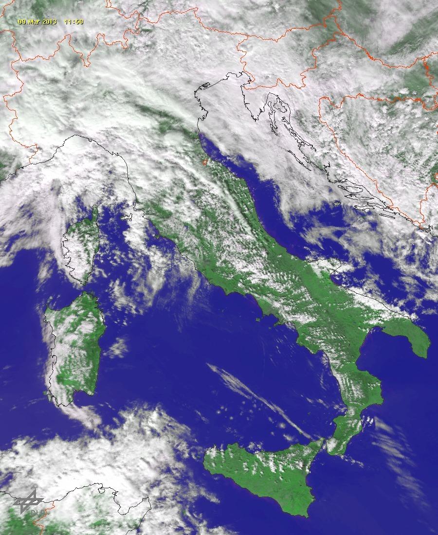 Fugace passaggio nuvoloso a breve sulla Sicilia