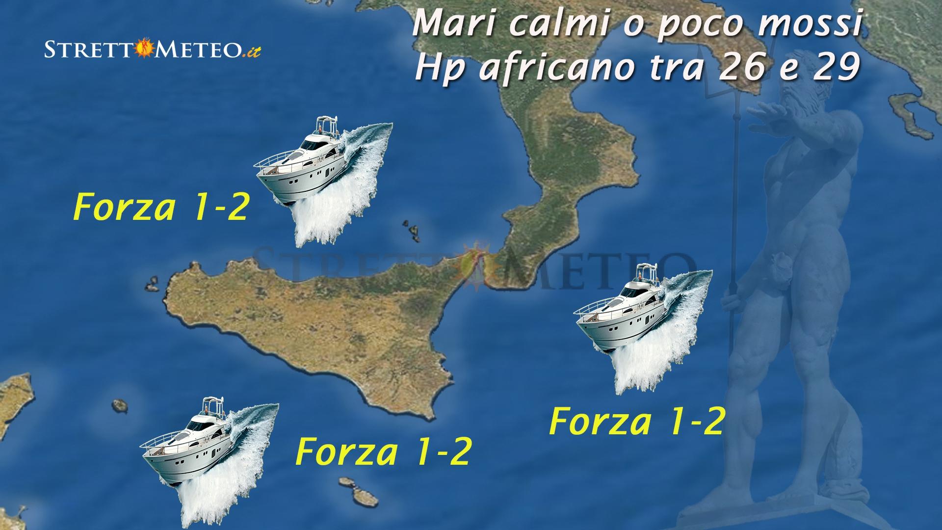 Meteo mare: calmi o poco mossi causa hp africano