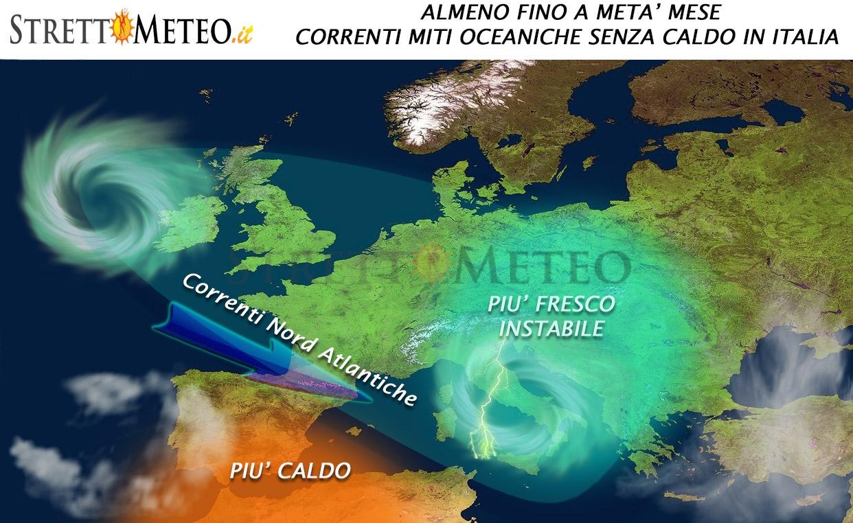 Si apre la porta nord atlantica, fino a metà mese niente eccessi di caldo