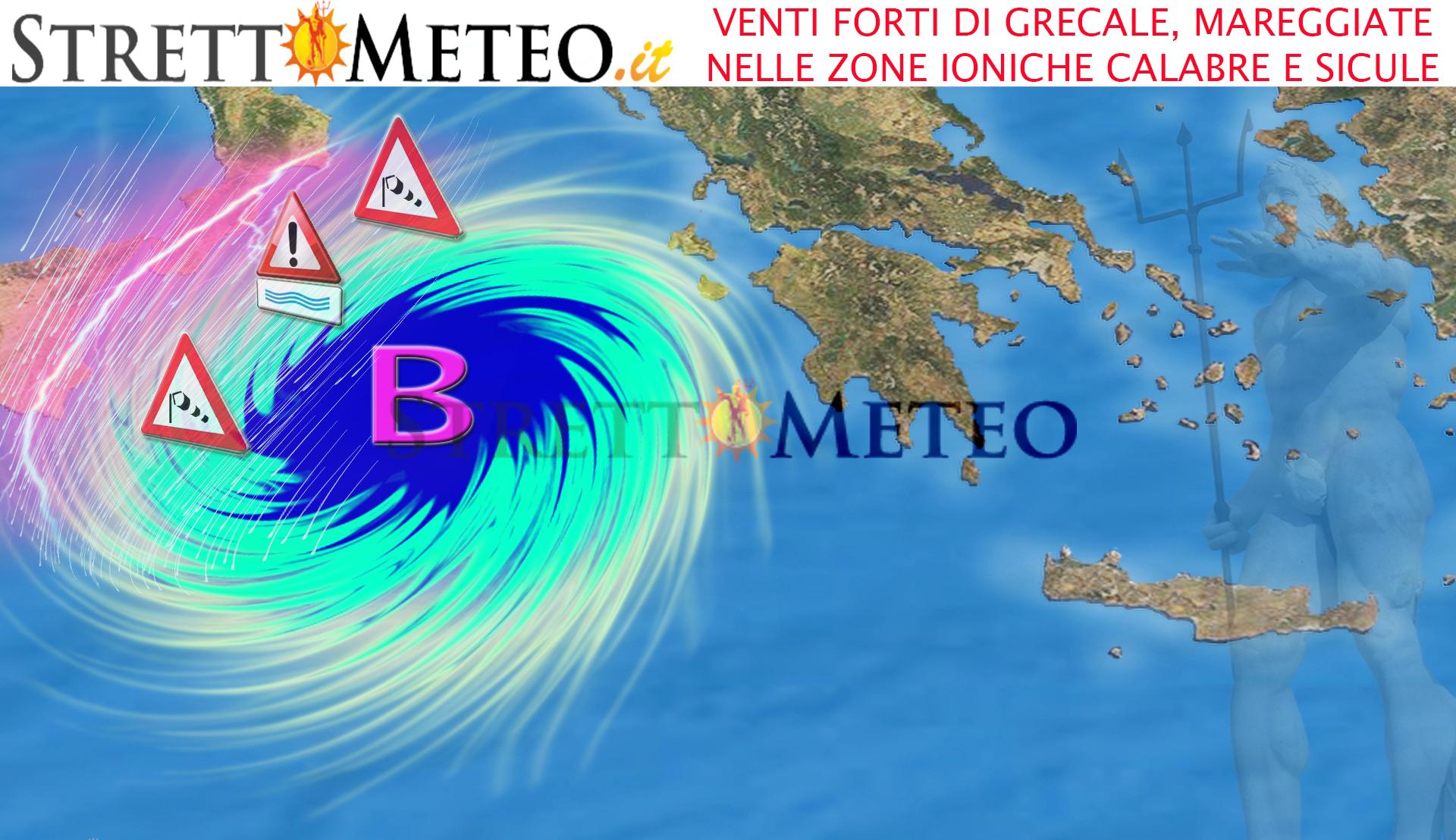 Forte burrasca di grecale nello Ionio, forti mareggiate nelle zone esposte