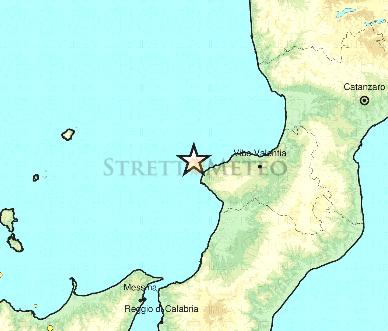 Scossa magnitudo 4,4 fronte Vibonese avvertita anche sullo Stretto