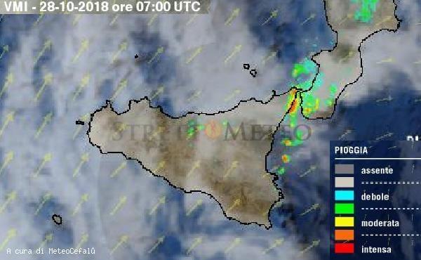Forti precipitazioni nell'area dello Stretto di Messina!